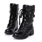 Motorcycle Boots Women Cool Goth Punk AnkleMilitary Lace-up Black