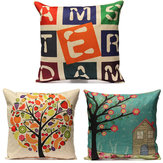 vendimia Carta Fruit Tree HouseCotton Linen Pillow Caso Home Decor Sofa Coche Funda de cojín
