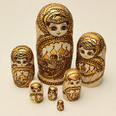 7pcs matryoshka boneca russa de madeira do assentamento do brinquedo modelo dom gravado