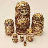 7Pcs Matryoshka Russian Doll Ahşap Yuvalama Oyuncakları Oyma Hediyelik Modeli