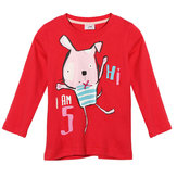 2015 nuova piccola estate Maven neonata bambini coniglio T-shirt a manica lunga in cotone rosso