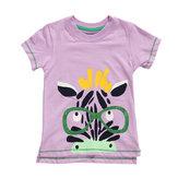 2015 New Little Maven Summer Baby Girl Child Zebra Różowa bawełniana koszulka z krótkim rękawem Tee