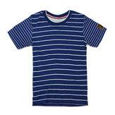 2015ニューリトルメイヴンブルーホワイトストライプベビー子供ボーイコットンショートスリーブTシャツ