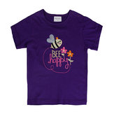 夏のベビーガールズ子供Beeパープルコットン半袖Tシャツ