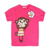 2015年新夏の赤ちゃんの女の子の猿の赤い綿の半袖Tシャツ