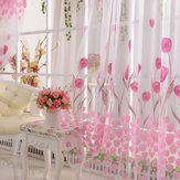 100x200cm Soft Tulle Tulip Flower Window Screen Home Sheer Window Curtain