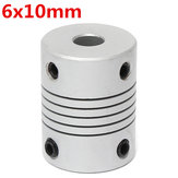 6mm x 10mm Aluminum Flexible Shaft Coupling OD19mm x L25mm CNC Stepper Motor Coupler Connector
