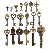 19 sztuk Antique Vintage Old Look Skeleton Key Set Lot Wisiorek Heart Bow Lock Steampunk Jewel
