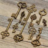 11pcs antique cru ancienne clé regard squelette ensemble pendentif coeur arc serrure steampunk