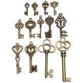 13pcs antico vintage vecchia chiave sguardo scheletro arco sacco set cuore pendente bloccare gioiello steampunk