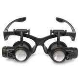 10X 15X 20X 25X LED Magnifier Loupe Glasses Double Eye Jeweler Watch Repair Changable Lens