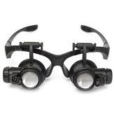 10X 15X 20X 25X LED Büyütücü Büyüteç Gözlükler Çift Gözlü Kuyumcu Saatini Onarın Değiştirilebilir Lens