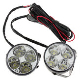 Sepasang 4W DC 12V 4LED Round White Car Daytime Running Light