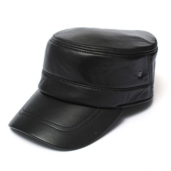 e6dce641d0 Men Leather Military Driving Sports Flat Cap Cadet Hat