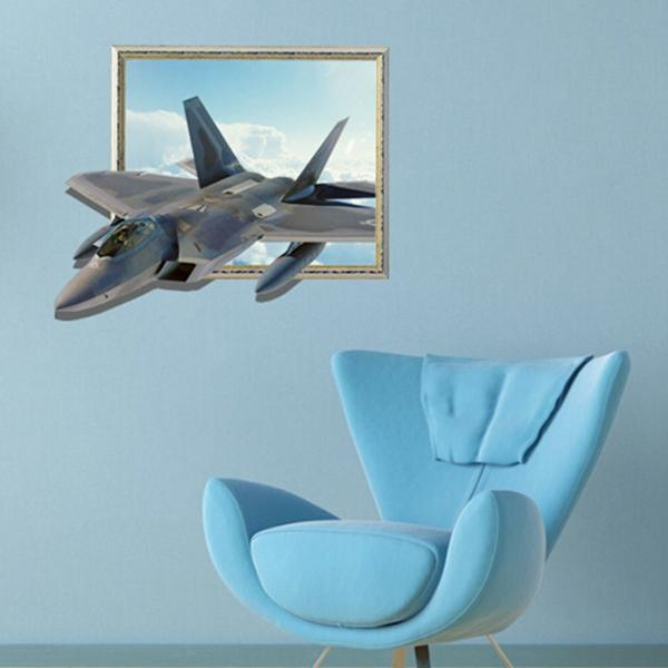 3d Aircraft Wall Decals Sky Wall Art Stickers 27 Inch Removable Home Decor