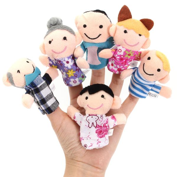 6 uds dedo marionetas de tela de felpa bebé del juguete historias de cama ayudante muñeca