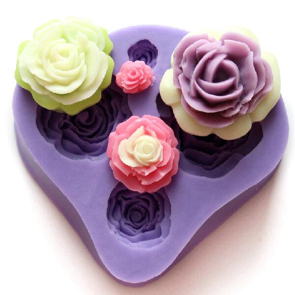 4 Different Sizes Roses Fondant Cake Decorating Mold