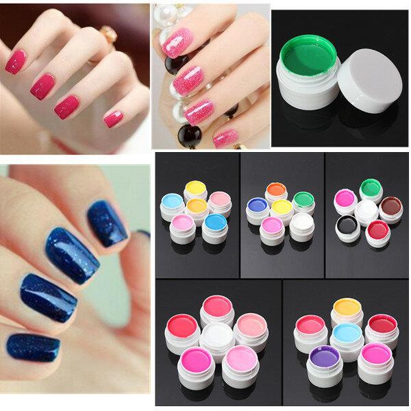 6 colori manicure estensione acrilici chiodo puro set gel UV di arte