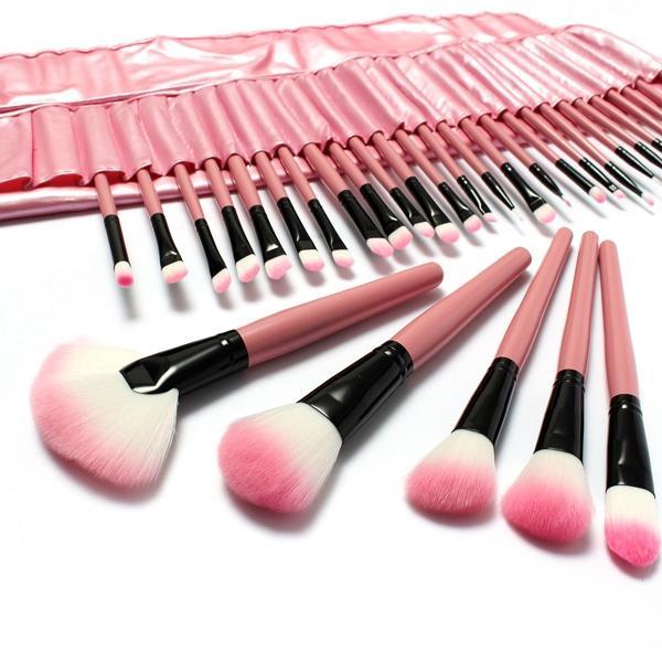 LuckyFine 32st Makeupborstar Set Professionell Kosmetisk Borste Set Rosa Eyeshadow Eyebrow Blush