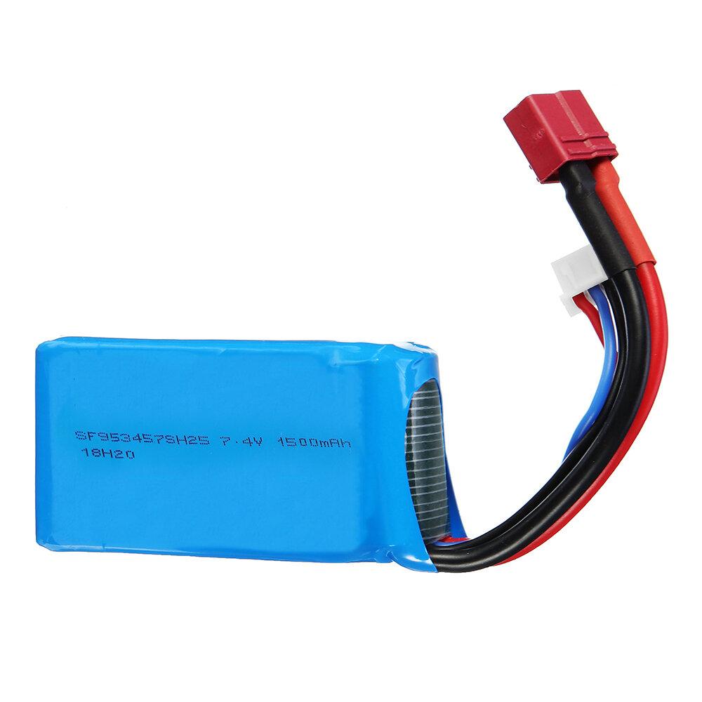 Wltoys 7.4V 1500mAh 25C 2S Lipo Bateria T Plug para 144001 A959-B A969-B A979-B 1/18 Carro RC
