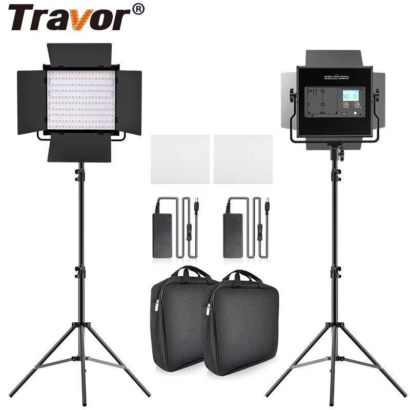 Travor L4500K Bi-color 2 Set LED Видеолампа Набор Professional камера Light Dimmable Fill Light Video with Штатив and Су