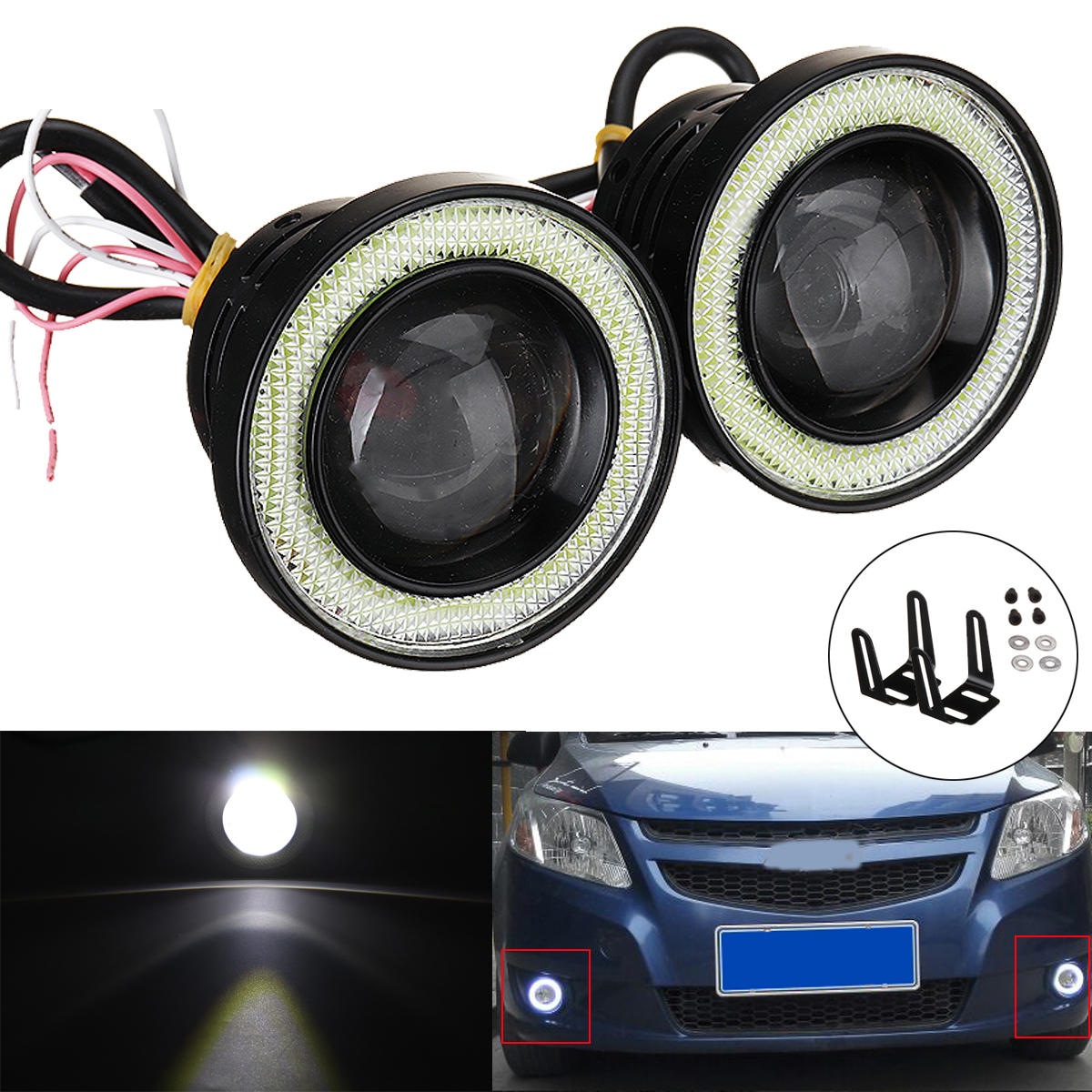 Pair 2 5inch Car Led Fog Lights With Cob Angel Eye Halo Ring Drl