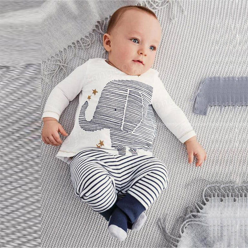 2Pcs Baby Kid Bodysuit Toddle Long Sleeve Top Shirt Striped Pants Outfits Set