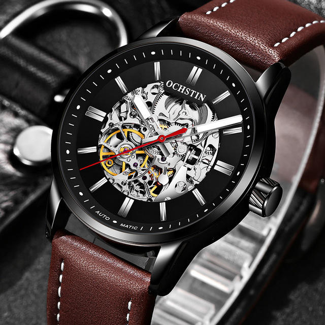 OCHSTIN 62001 Automatic Mechanical Watches Luminous Display Leather Strap Clock Men Wrist Watch