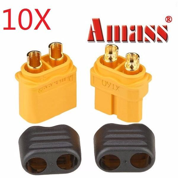 10 Pairs Amass XT60+ Plug Connector With Sheath Housing Male & Female For RC Drone