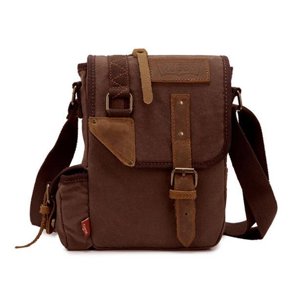 faea3a251 Augur Men's Vintage Genuine Leather Canvas Leisure Shoulder Bag Crossbody  Bag - khaki COD