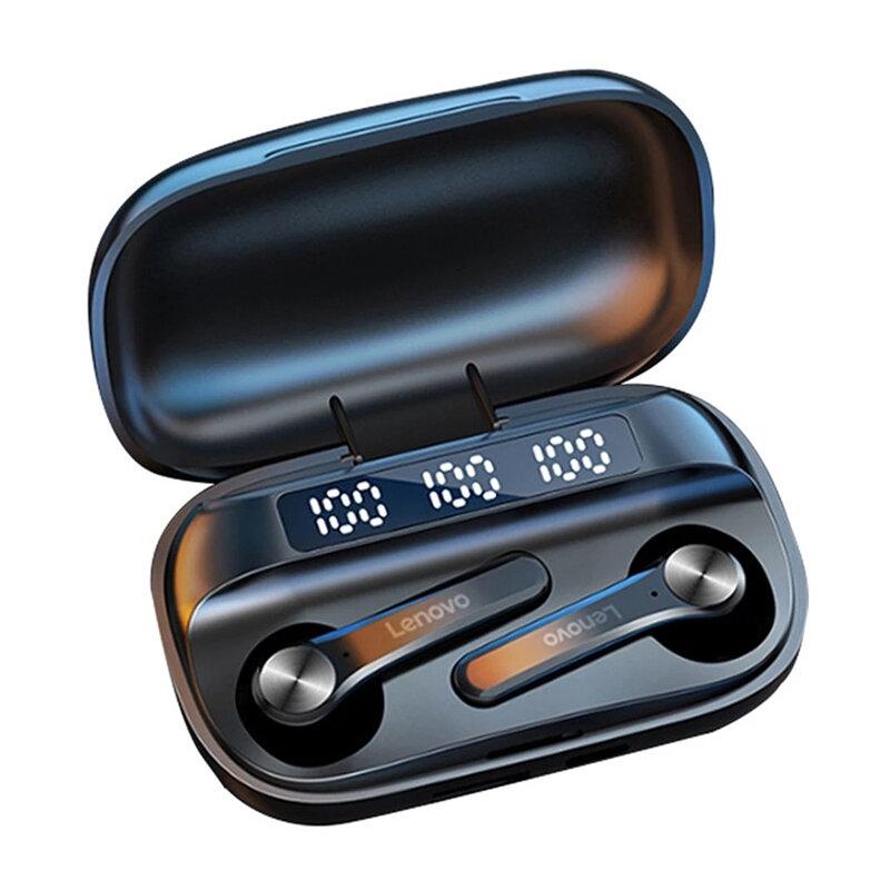 Lenovo QT81 TWS fone de ouvido bluetooth 5.0 LED Power Display 1200mAh HiFi estéreo baixo fone de ouvido estéreo à prova