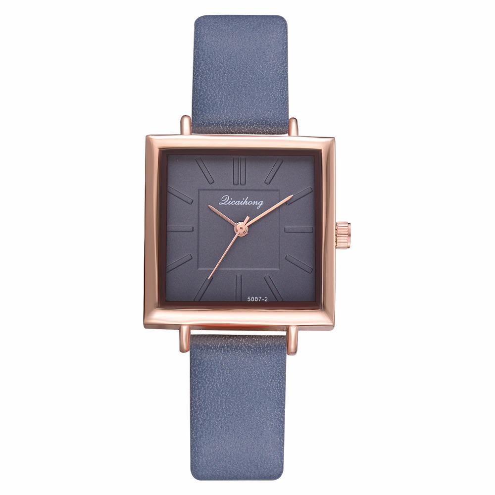 Simple Square Dial PU Leather Strap Women Fashion Ladies Dress Bracelet Quartz Watch