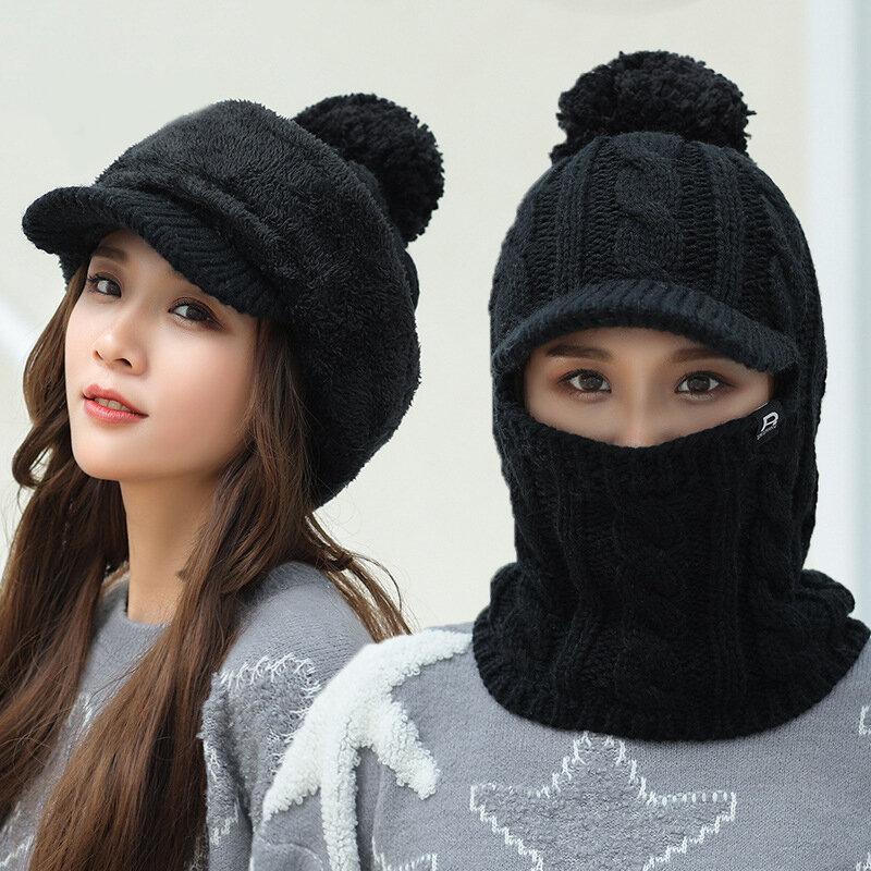 Phụ nữ mùa đông ngoài trời ấm áp đa năng Mũ dệt kim mặt nạ đan mặt nạ mũ len
