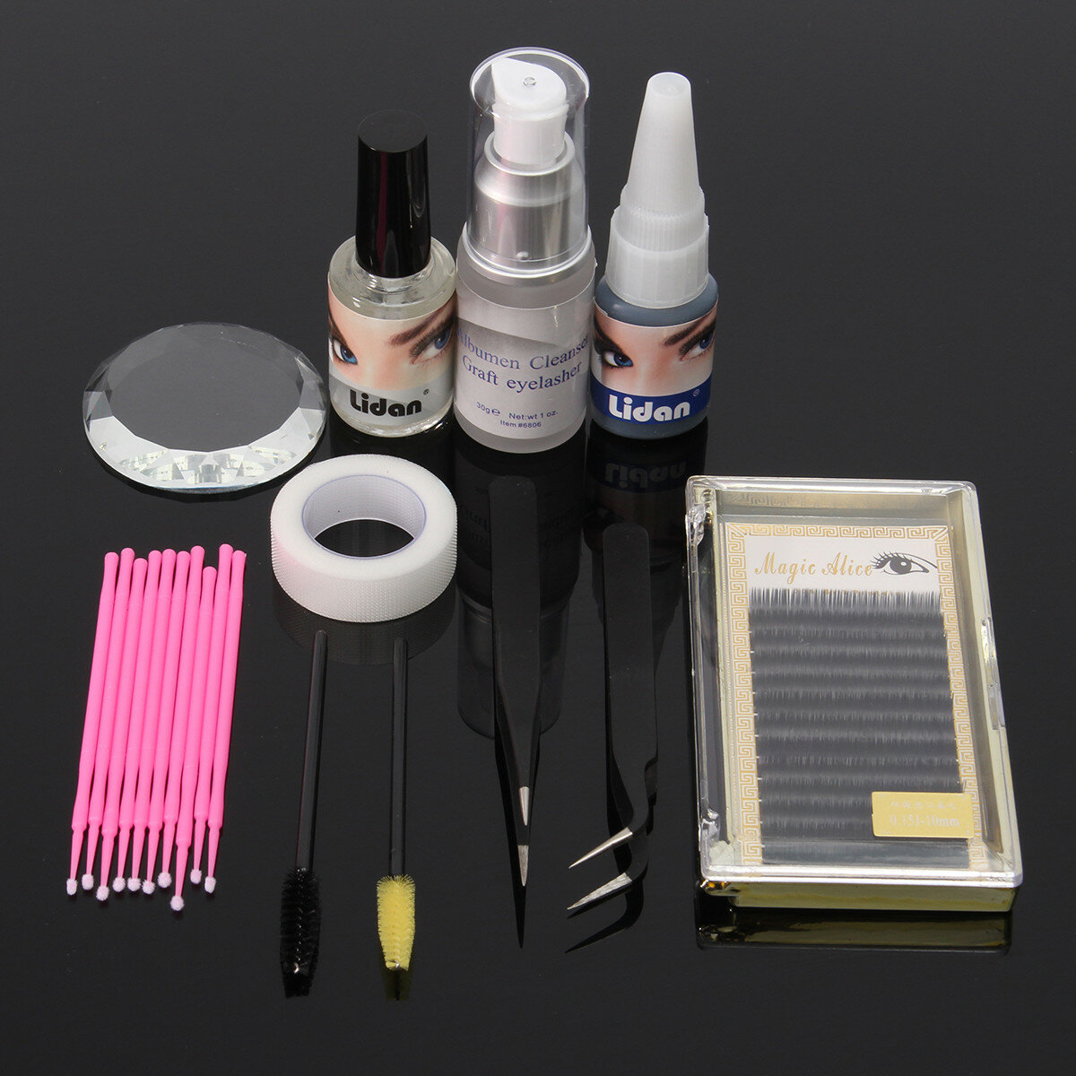 11st Eyelash Extension Set Individuella Pincetter Lim Eye Lash Brush Mascara Applicator Makeup Väska