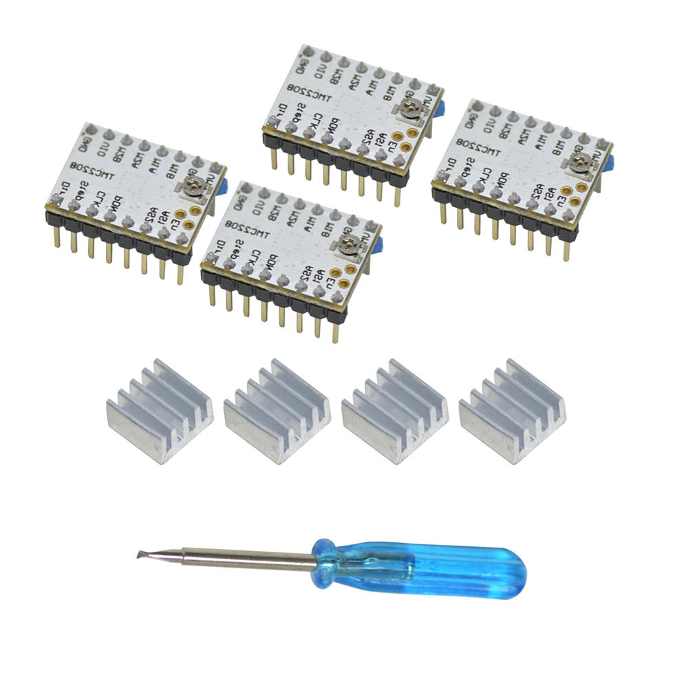Geeetech® 4PCS Ultra-quiet TMC2208 Stepper Motor Driver + Heatsink + Screwdriver Kit For 3D Printer