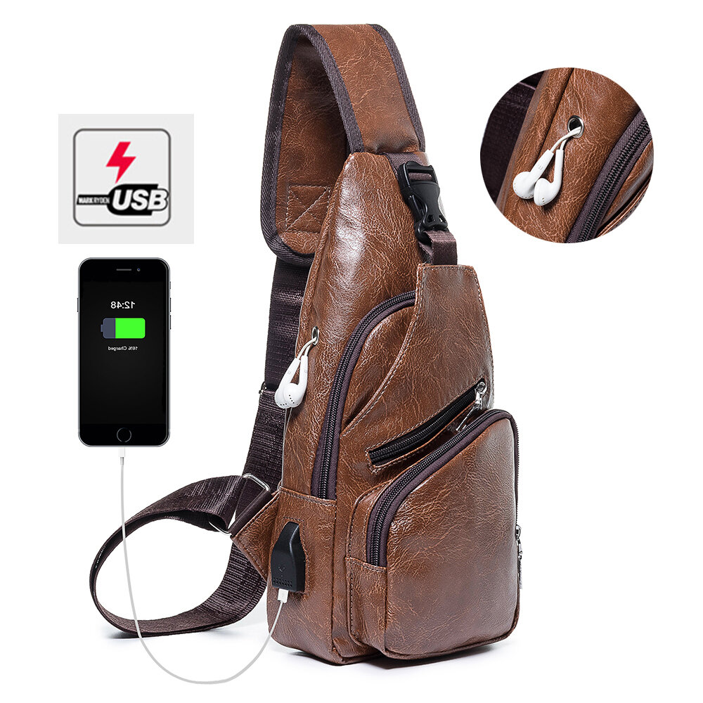 Men Casual Resistant Waterproof Anti Theft Chest Bag Travel Daypack with USB Charging Port