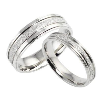 Sweet Couple Ring Silver Plated Simple Wedding Finger Ring