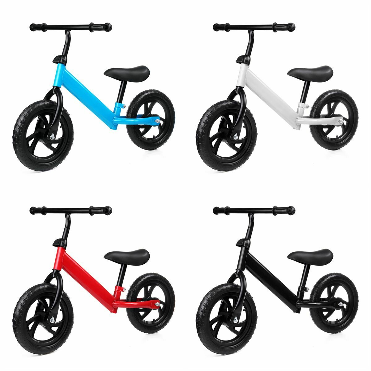 12 Inch Kids Best No Pedal Adjustable Balance Bike for Aged 1-7 Children Toddler Bicycle with non-slip solid wheels&360°