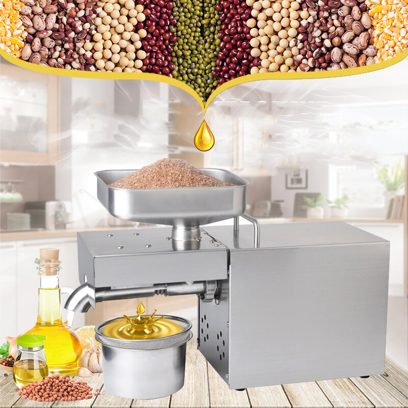 110V/220V Commercial Stainless Steel Automatic Oil Press Machine Seeds Pressing Electric Oil Expeller EU/US Plug