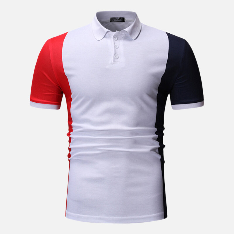 Men Color Block Muscle Fit Golf Shirt