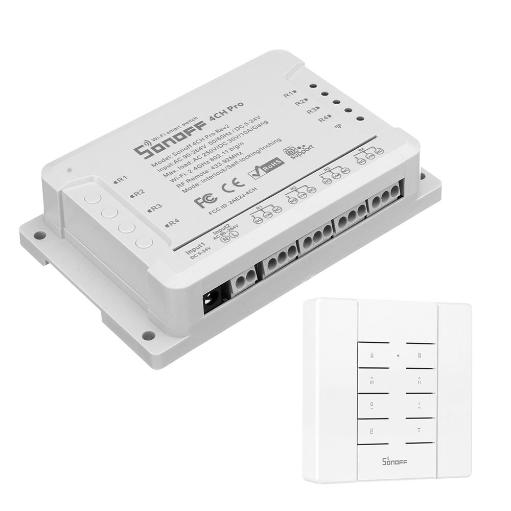 SONOFF® 4CH Pro R2 10A 2200W 2.4Ghz 433MHz RF Inching/Self-Locking/Interlock Smart Home Module WIFI Wireless Switch With RM433 Remote And Base APP Remote Control AC 90V-250V / 5-24V DC Din Rail Mounti