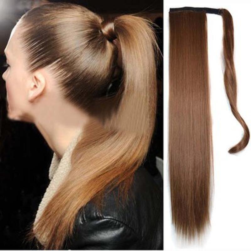 लंबे सीधे पोनीटेल महिलाओं के सिंथेटिक बाल एक्सटेंशन 6 रंग मैजिक टेप क्लिप हेयरपीस चॉकलेट ब्राउन