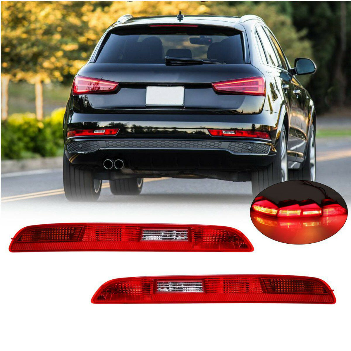 Car Tail Lights >> Rear Left Right Car Side Lower Bumper Tail Light Lamp Red For Audi Q3 2011 2014