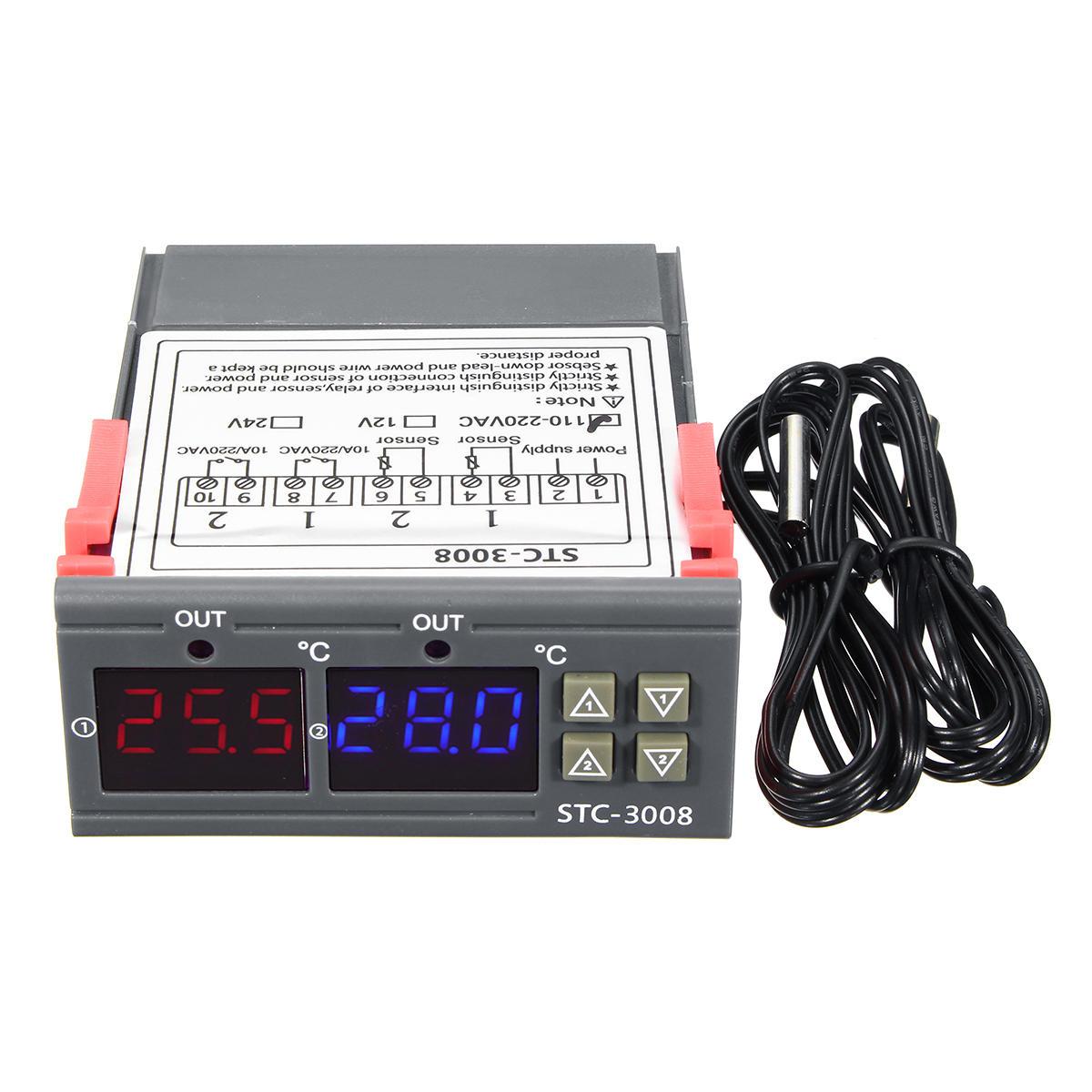 110-220V STC-3028 Nhiệt độ phân tán Độ ẩm Bộ điều khiển nhiệt độ Điều khiển độ ẩm Nhiệt kế Điều khiển ẩm kế
