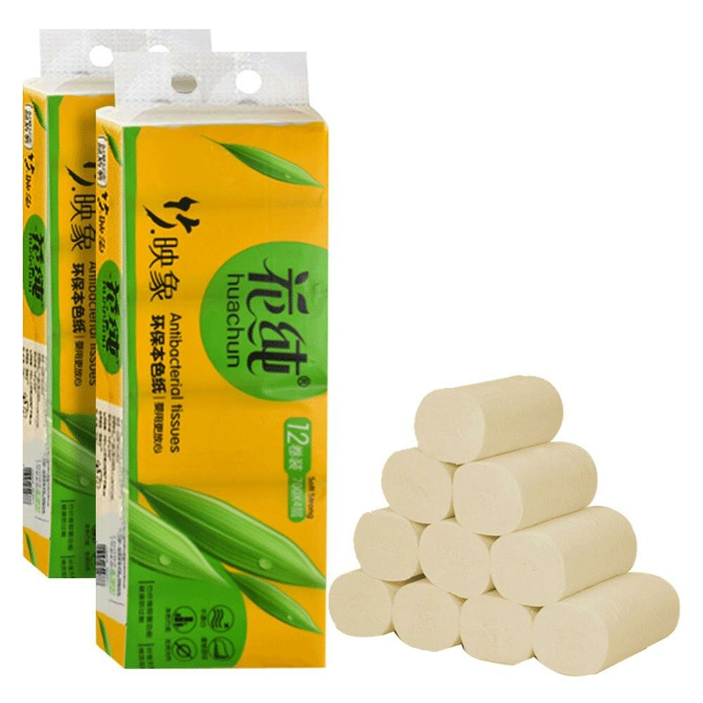 12 Rolls Toilet Paper Soft Bath Toilet Roll Paper 4layers Household Rollss Paper Wood Pulp Face Tissue