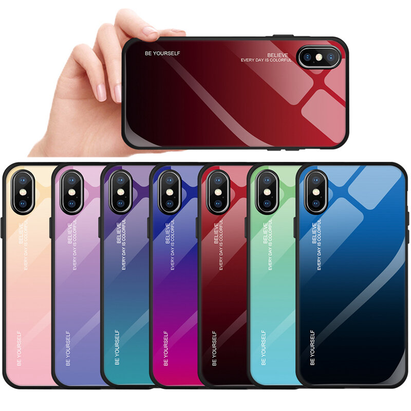 Bakeey Gradient Scratch Resistant Tempered Glass Protective Case For iPhone X/XS/XR/XS Max