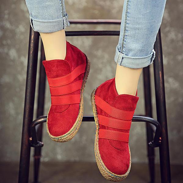 US Taglia 5-11 Scivolare su stivali rotondi alla caviglia della pelle scamosciata della punta rotonda per le donne
