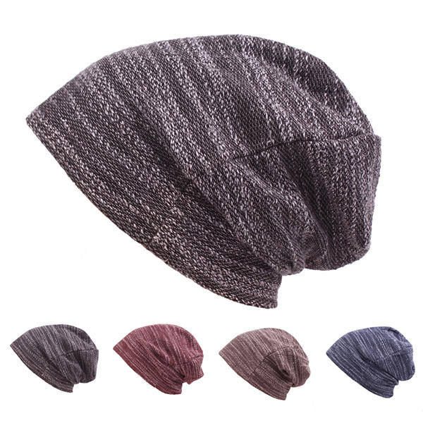 94c33444fada Mens Women Cotton Slouch Beanie Hat Casual Solid Knitted Striped Elastic Cap  COD