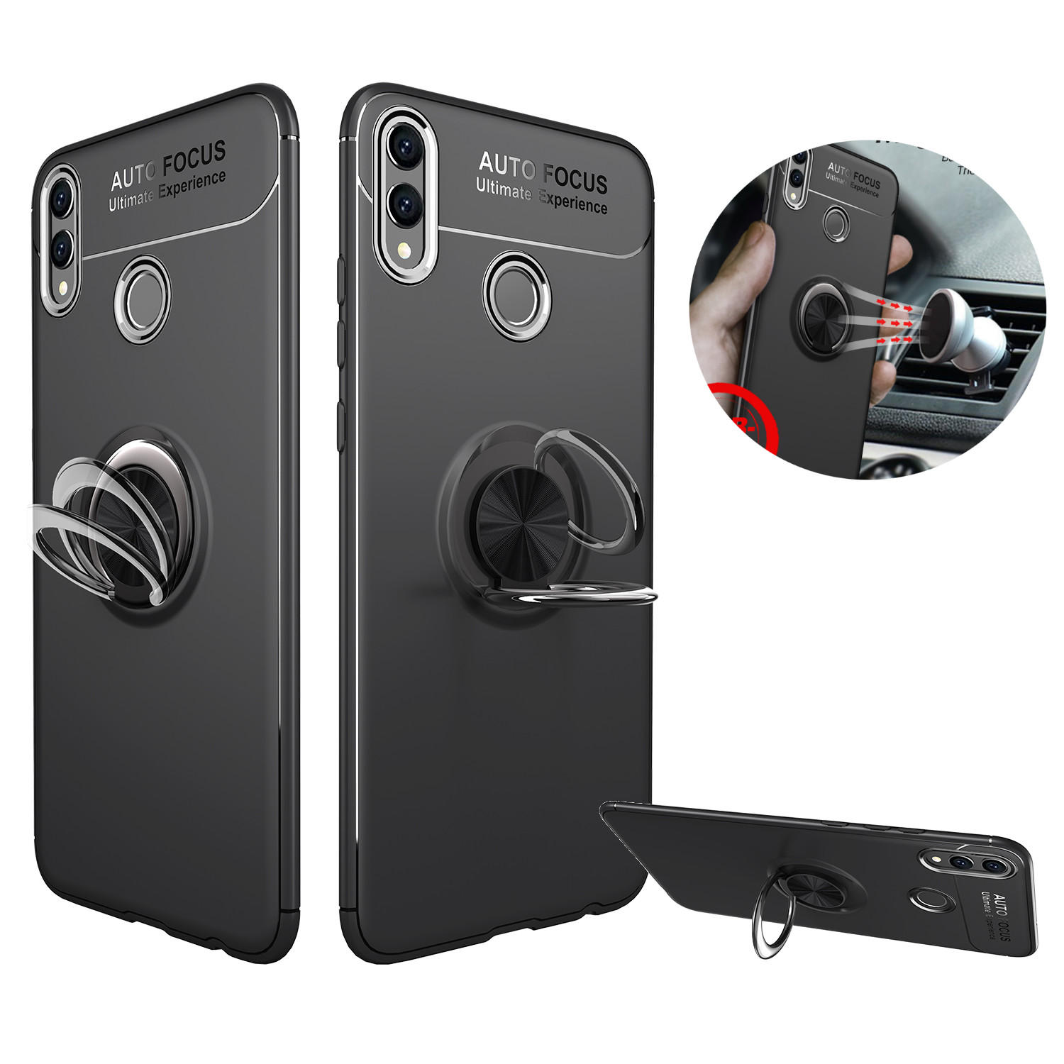 Bakeey 360° Adjustable Metal Ring Kickstand Magnetic PC Protective Case for  Huawei Honor 8X