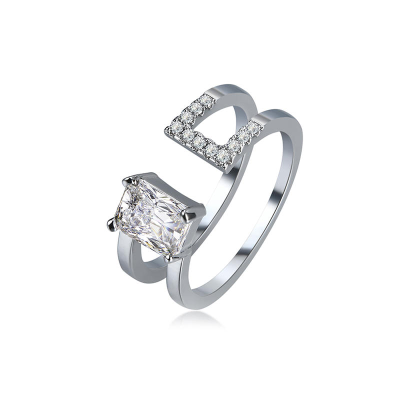 924354a156 Luxury Double Layer Adjustable Open End Ring Platinum Plated Shiny Zircon  Ring for Women